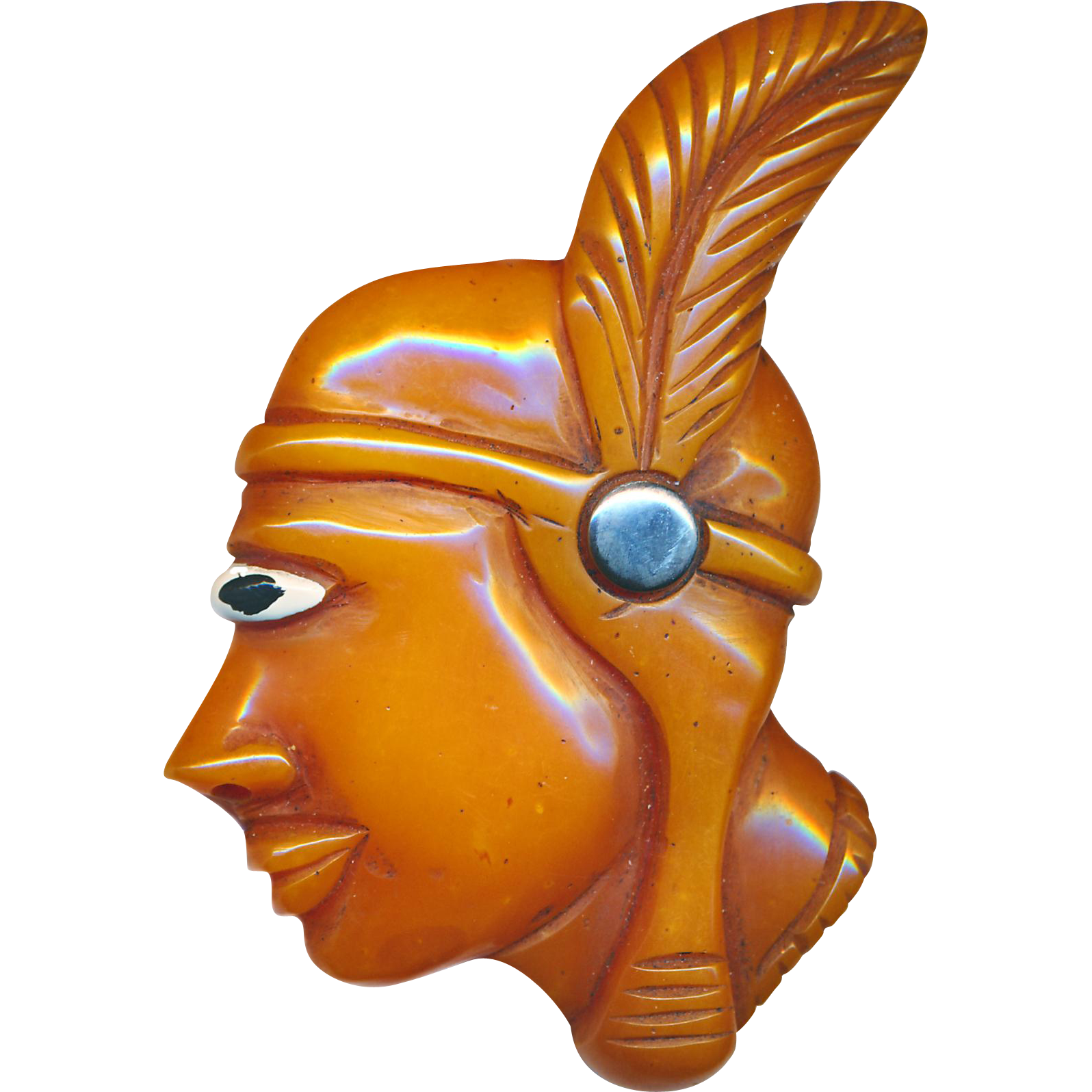 Brooch--Huge Butterscotch Bakelite Native American Princess