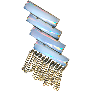 Brooch--Art Deco Style Opalescent Glass in Brass with Fringe
