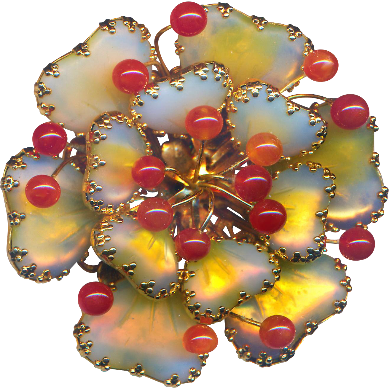 Brooch--Large Vintage Signed Hobe Psychedelic  Art Glass Mayorka Petals