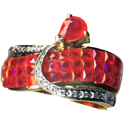 Ring--Vintage Invisibly Set Rubies and Diamonds in 18 Karat Gold Size 8