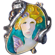 Ring--Fine Cloisonne Enamel Fairy on Silver with Vermeil by Sue Knopp