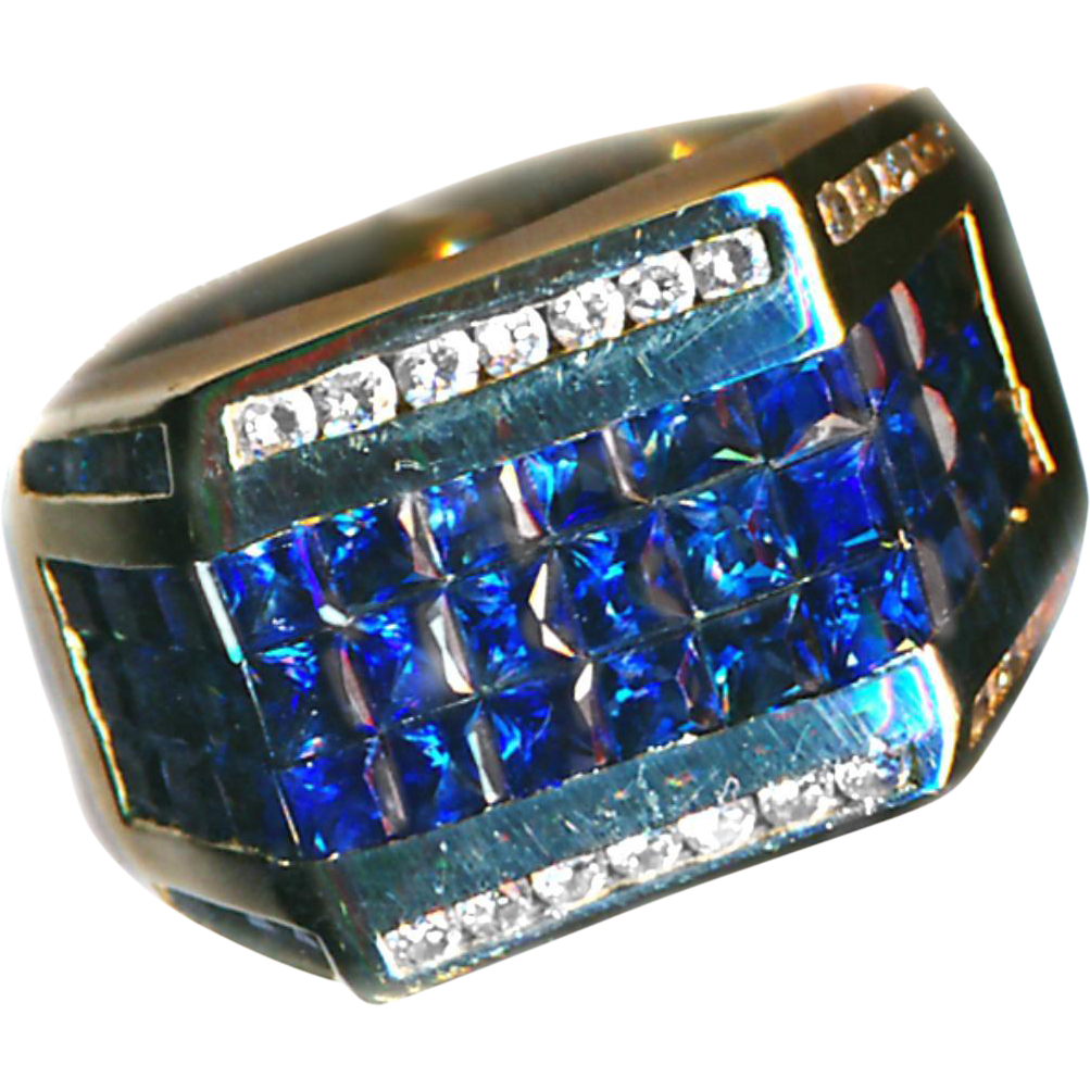 Ring--Great Wall of Sapphires--Invisibly Set with Channel-set Diamonds
