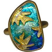 Ring--Cloisonne Enamel in 22 and 14 Karat Gold by Susan Knopp