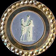 Button--Rare 18th C. Faux Wedgwood Decoration on Mirror-bright Copper