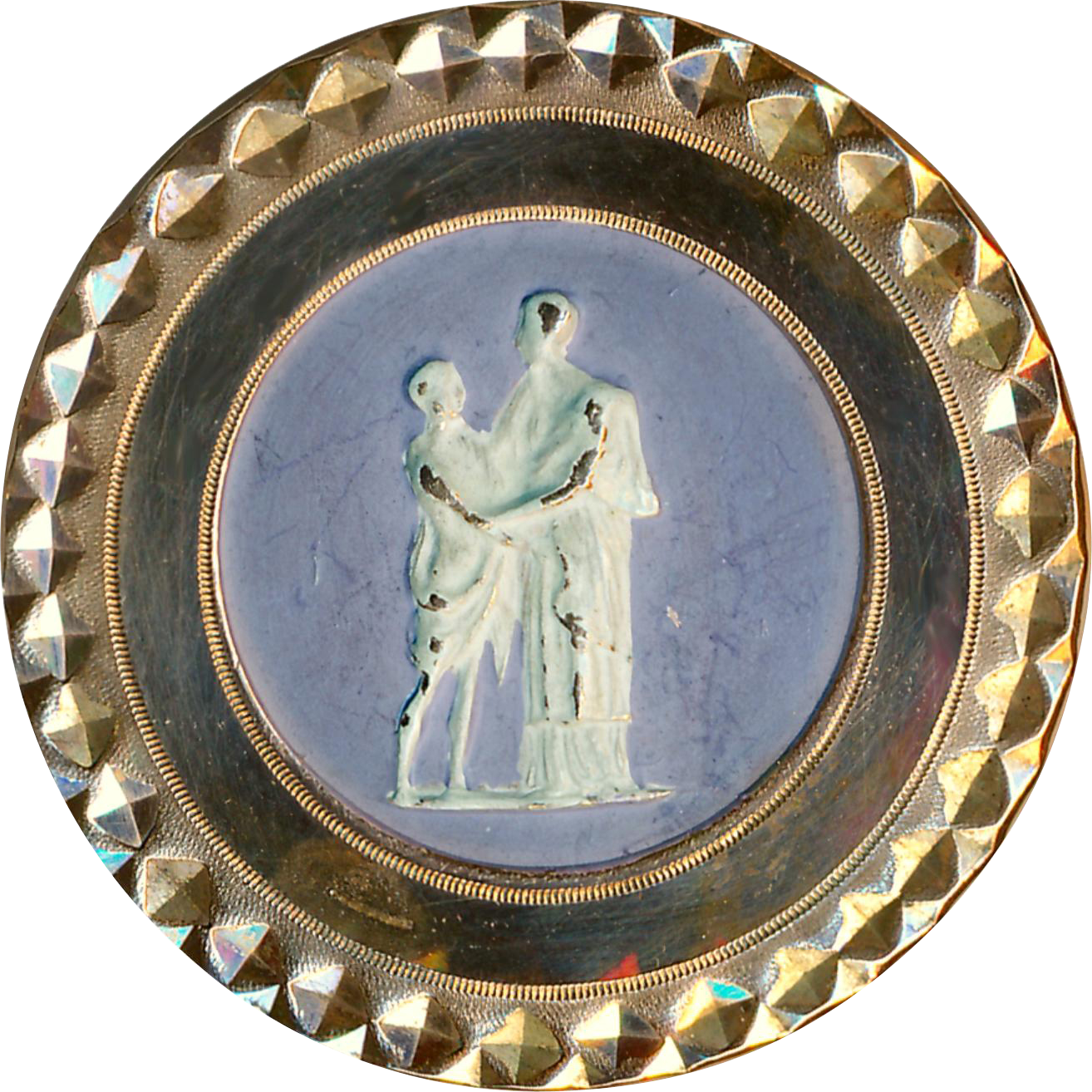 Button--Rare 18th C. Faux Wedgwood Decoration on Mirror-bright Copper