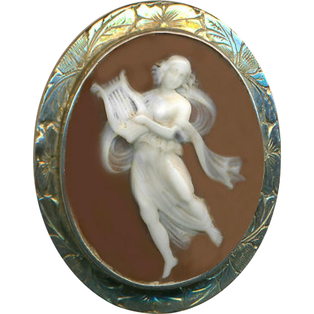 Brooch--19th C. Shell Cameo Muse with Lyre in Unmarked Silver