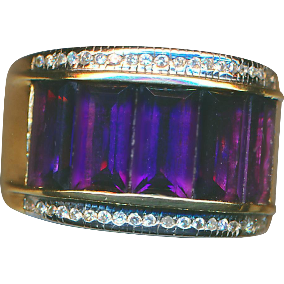 Ring--Large Amethyst Baguettes Channel-set in Diamonds & 14 Karat Gold Band