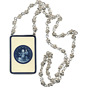 Harem Master--Heavy Enamel and Silver Necklace on Hand-made 31 Inch Sterling Chinese Knots