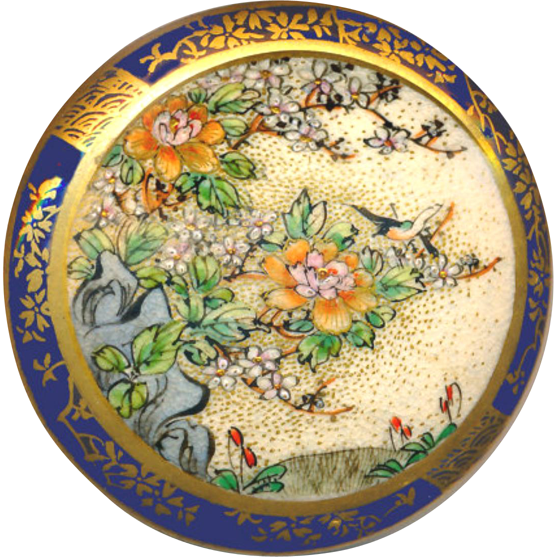 Button ~ Superb Very Large 19th C. Satsuma Pottery with Cherry Tree Border on Cobalt