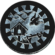 Button--Large 19th C. Pictorial Black Glass Birds & Birdhouse