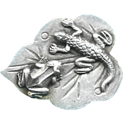 Button--Large Newt and Frog on 19th C. Chinese Solid Silver Leaf