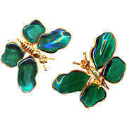 Brooch--Large Signed Hattie Carnegie Poured Glass Butterfly in Emerald Green Glass