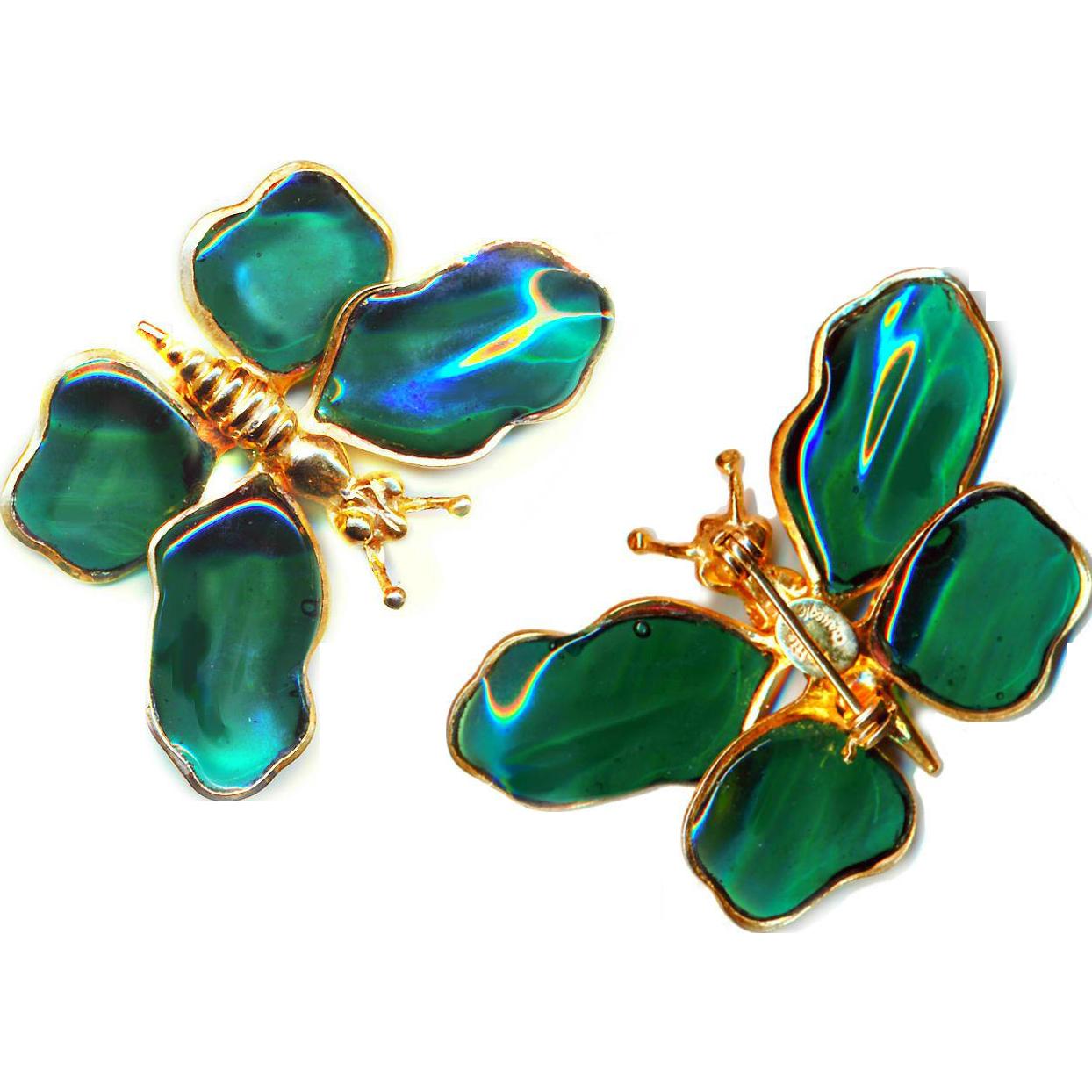 Brooch--Large Signed Hattie Carnegie Poured Glass Butterfly in Emerald Green Glass