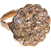 Ring--4 Carats Brownish Rose-cut Diamonds 19th C. 14 Karat Pink Gold