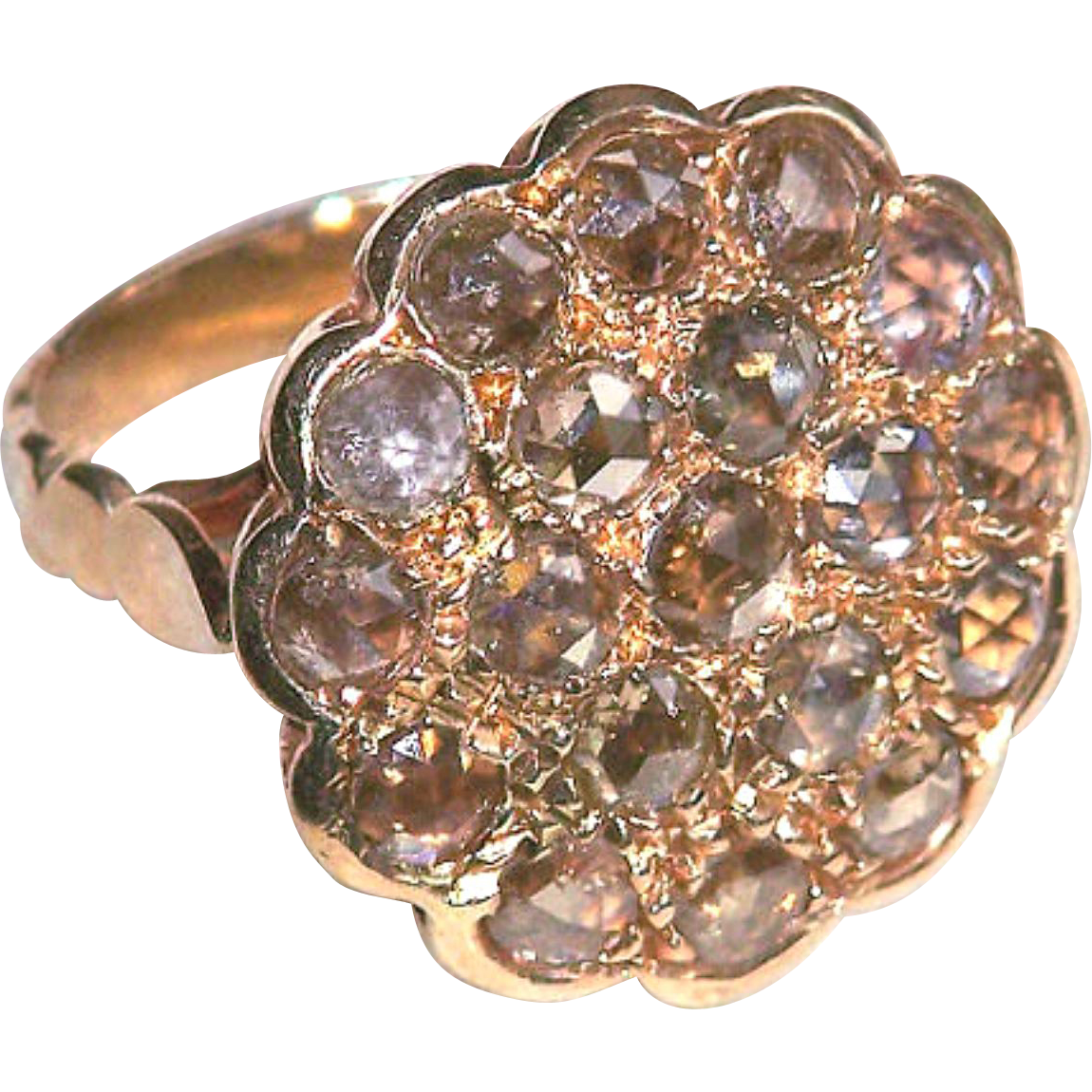 Ring--RESERVED--4 Carats Brownish Rose-cut Diamonds 19th C. 14 Karat Pink Gold