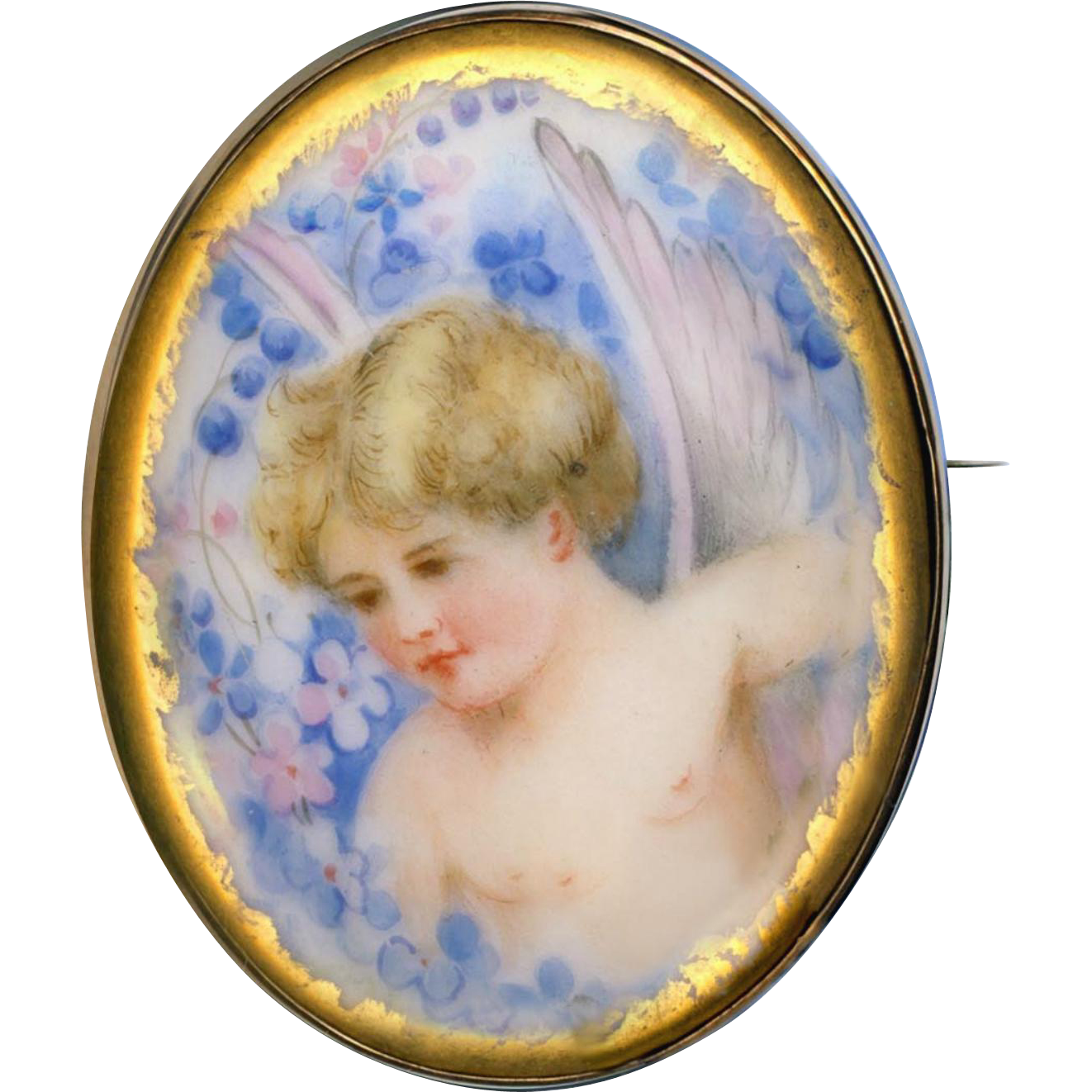 Brooch--Hand Painted Porcelain Cherub or Angel in 19th C. Gold-plated Brass