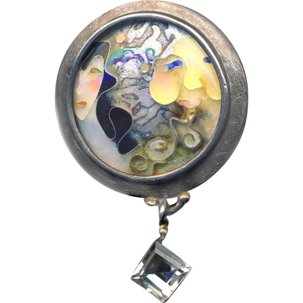 Brooch--Sue Knopp Me & My Moon Cloisonne Enamel on Sterling Silver with Quartz