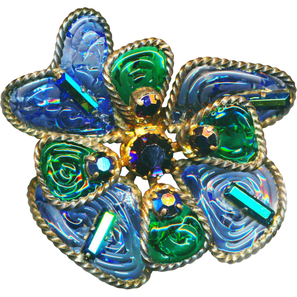 Brooch--Unsigned Fine Poured Glass Gripoix-style in Twist Wire with Iridescent Baguette and Round Jewels