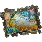 Brooch--Large Susan Knopp Cloisonne Enamel Lady and Gremlin on Sterling Silver