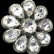 Button--Late Georgian Circa 1810 Brilliant Paste Set in Heavy 0.800 Silver Florette