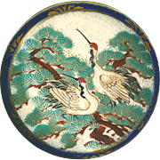 Button ~ Large Late 19th C. Japanese Satsuma Pottery in Metal ~ Nesting Red-crowned Cranes in Tree Top