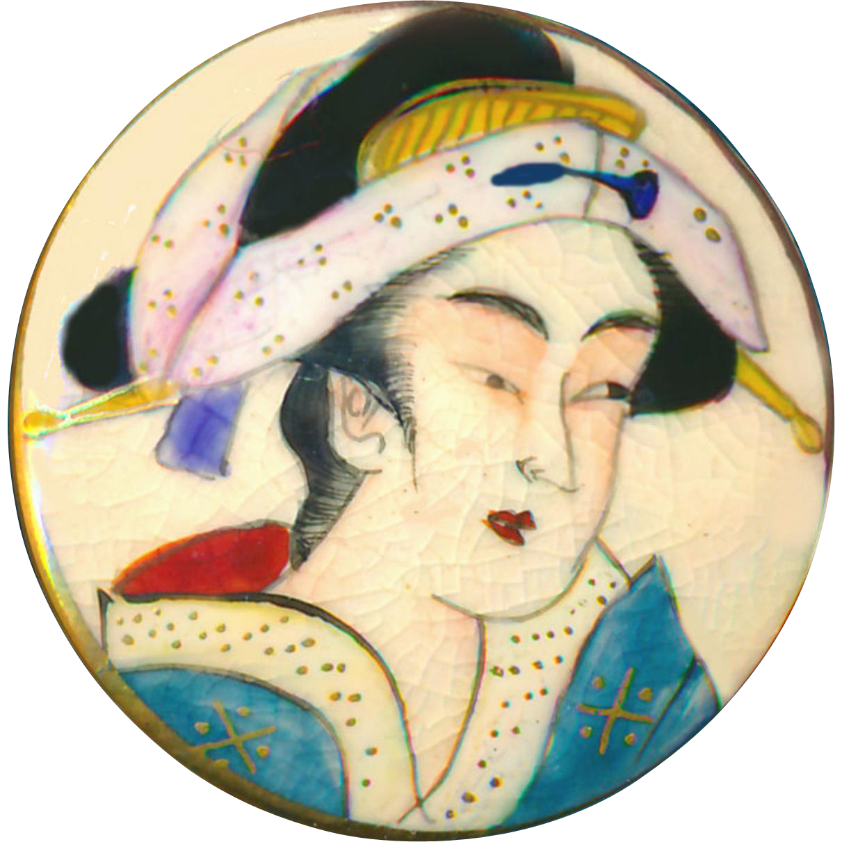 Button--Large Fine Modern Japanese Satsuma Geisha in Blue Robe