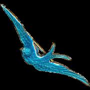 Brooch--Graceful Art Nouveau Enamel Blue Bird or Swallow on Brass