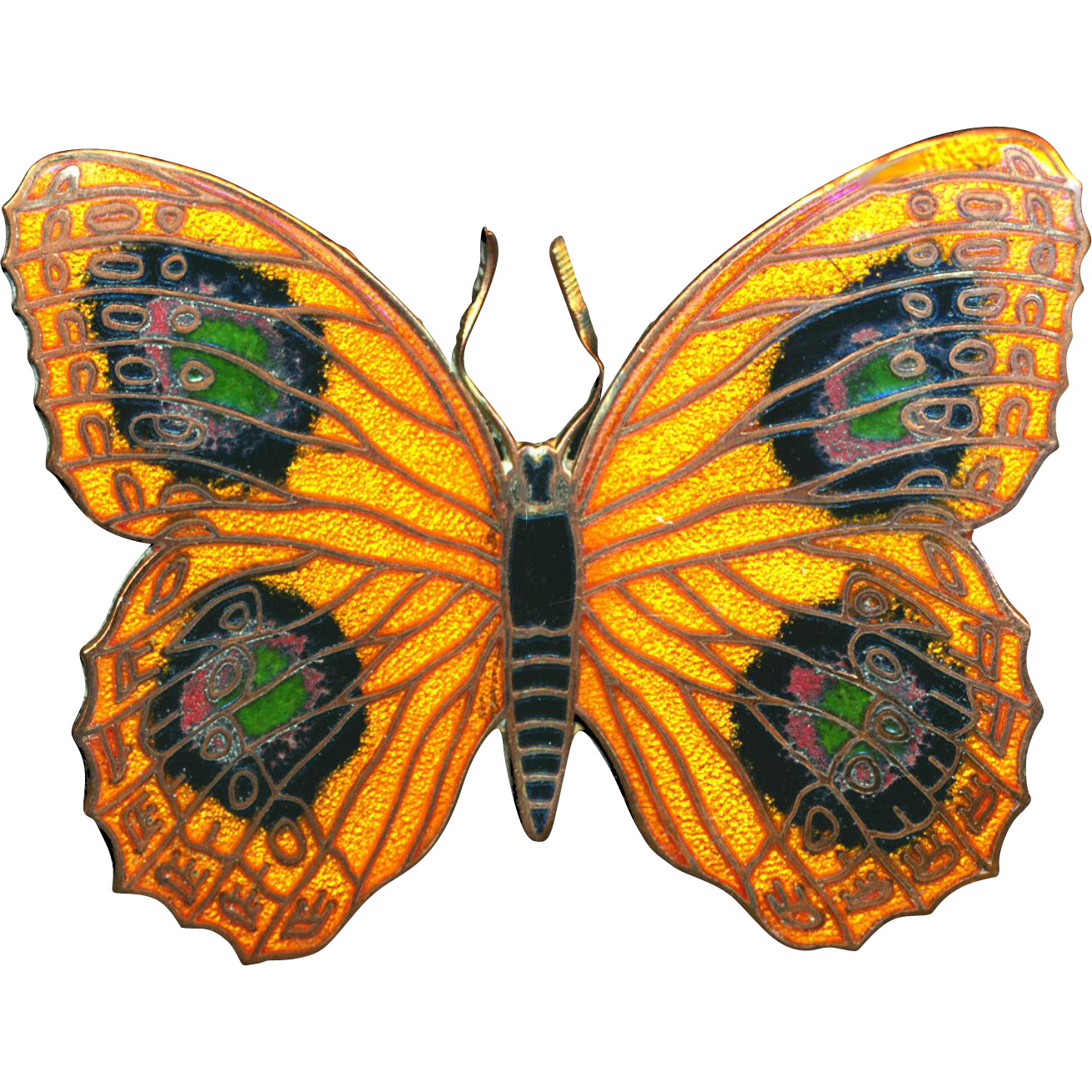 Brooch--Large Champleve Enamel on Copper Butterfly or Moth