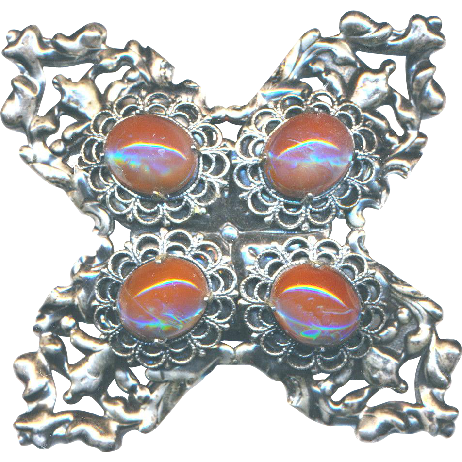 Brooch--Very Large Modern Saphiret Glass Jewels in Filigree Cross by Jeanne