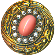 Button--Large Late 19th or Early 20th C. Faux Coral Glass & Rhinestone Jewel in Brass