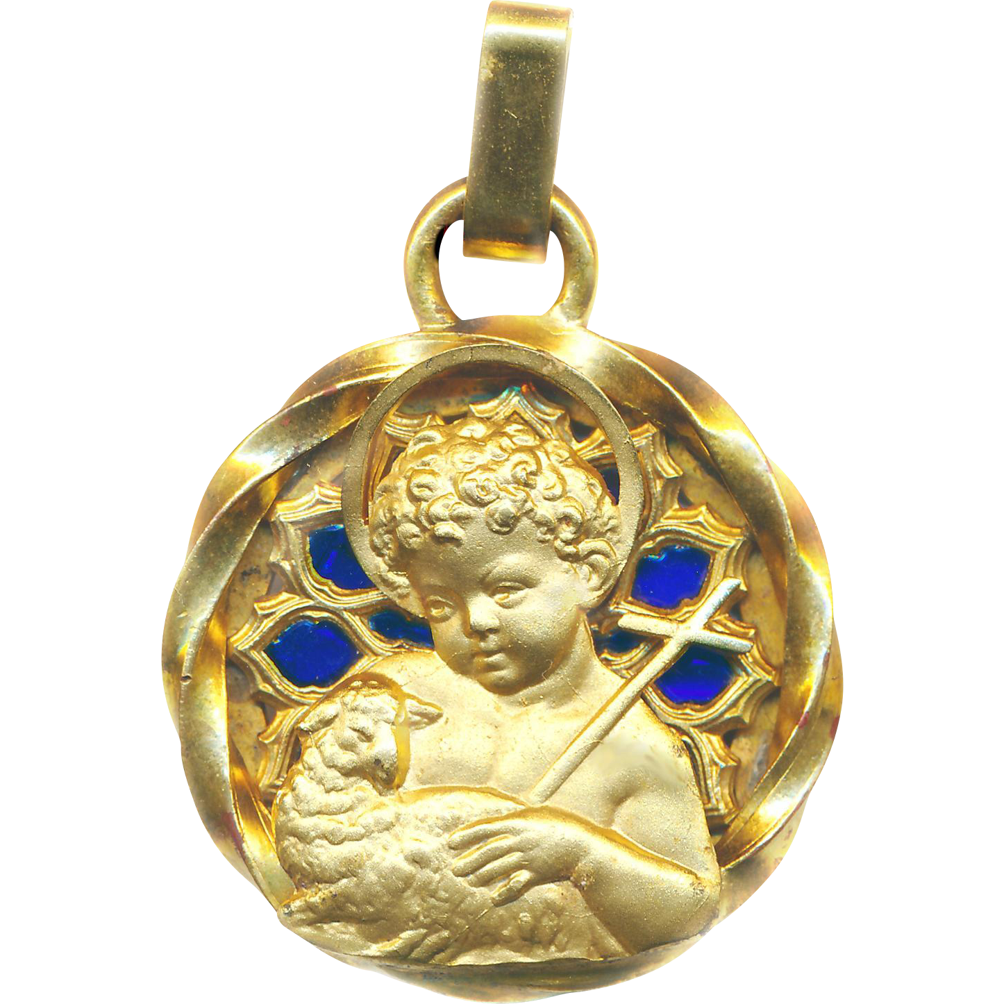 Pendant Vintage Very Large Plique A Jour Holy Medal Of