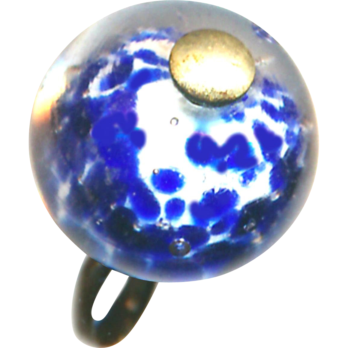 Button--Hard-to-find 19th C. Pin-shank Paperweight Cobalt Bkue Spatter Core