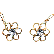 Earrings--Pinkish Gold-tone Open Floraforms with Bezel-set Quartz Stones