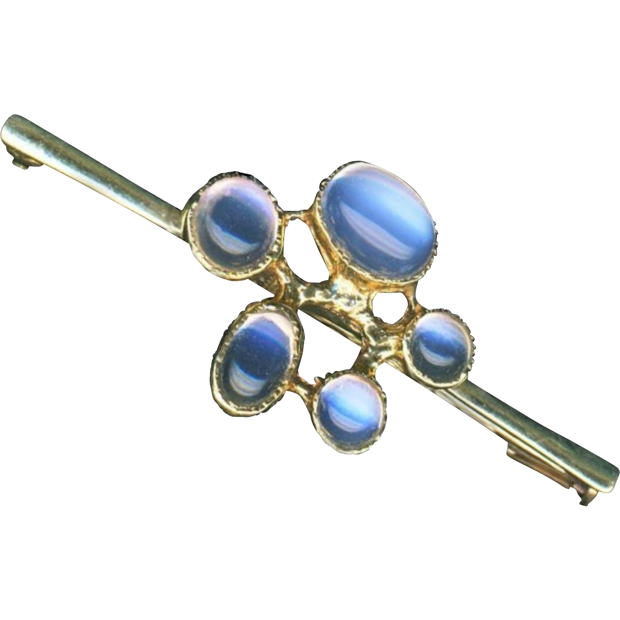 Brooch--Edwardian Era 5 Moonstones in 18 Karat Gold Bar Pin