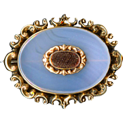 Brooch--19th C. Chalcedony and Woven Hair Mourning