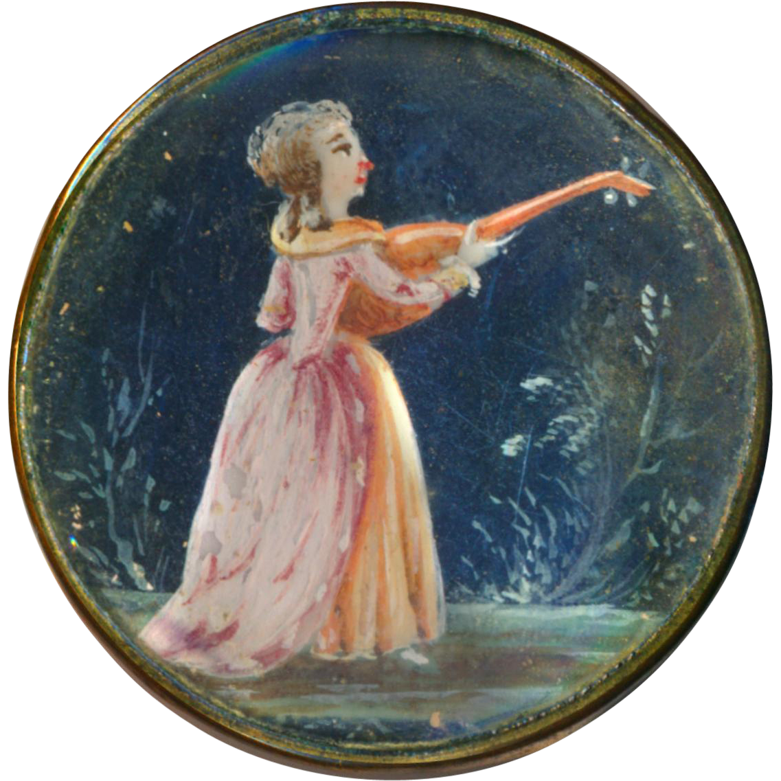 Brooch--18th C. Georgian Painting Under Glass Pink Lady with Lute