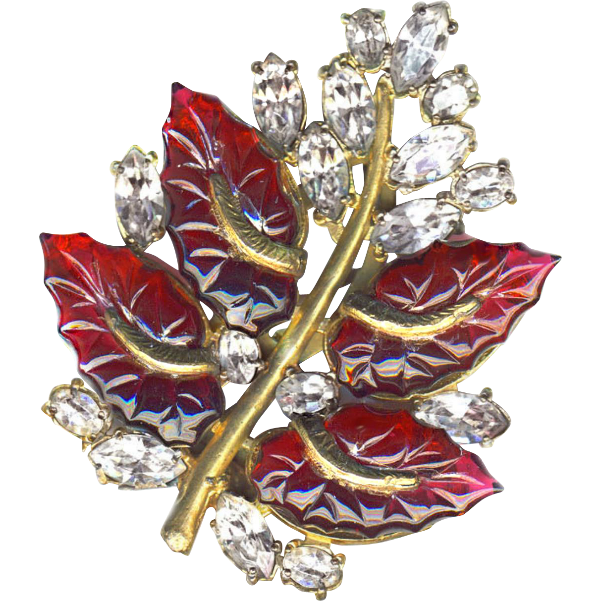 Dress Clip--1940s Large Poured Ruby Red Glass Leafs with Marquise Rhinestones in Gold Metal