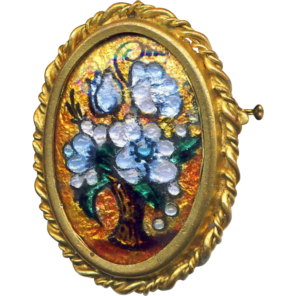 Brooch--Vintage 1950s Paris Limoges Enamel by T. Bevins Opalescent Fleurs in Vase