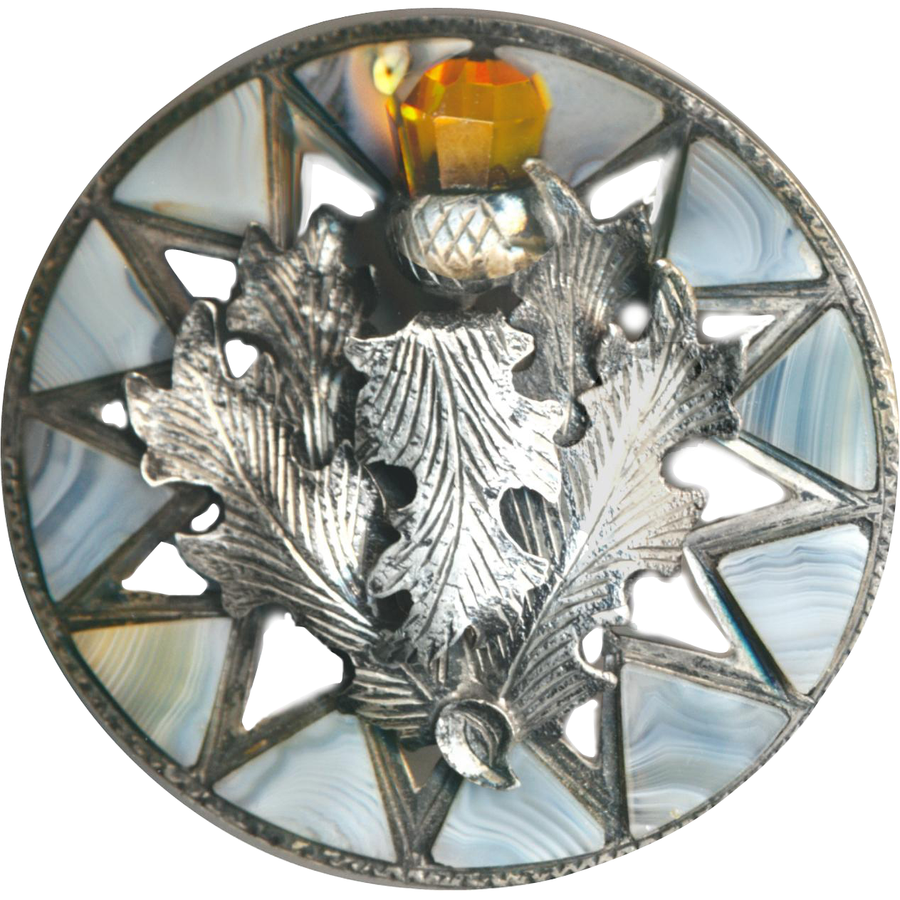 Brooch--19th C. Scottish Cairngorm Thistle in Montrose Agates and Silver