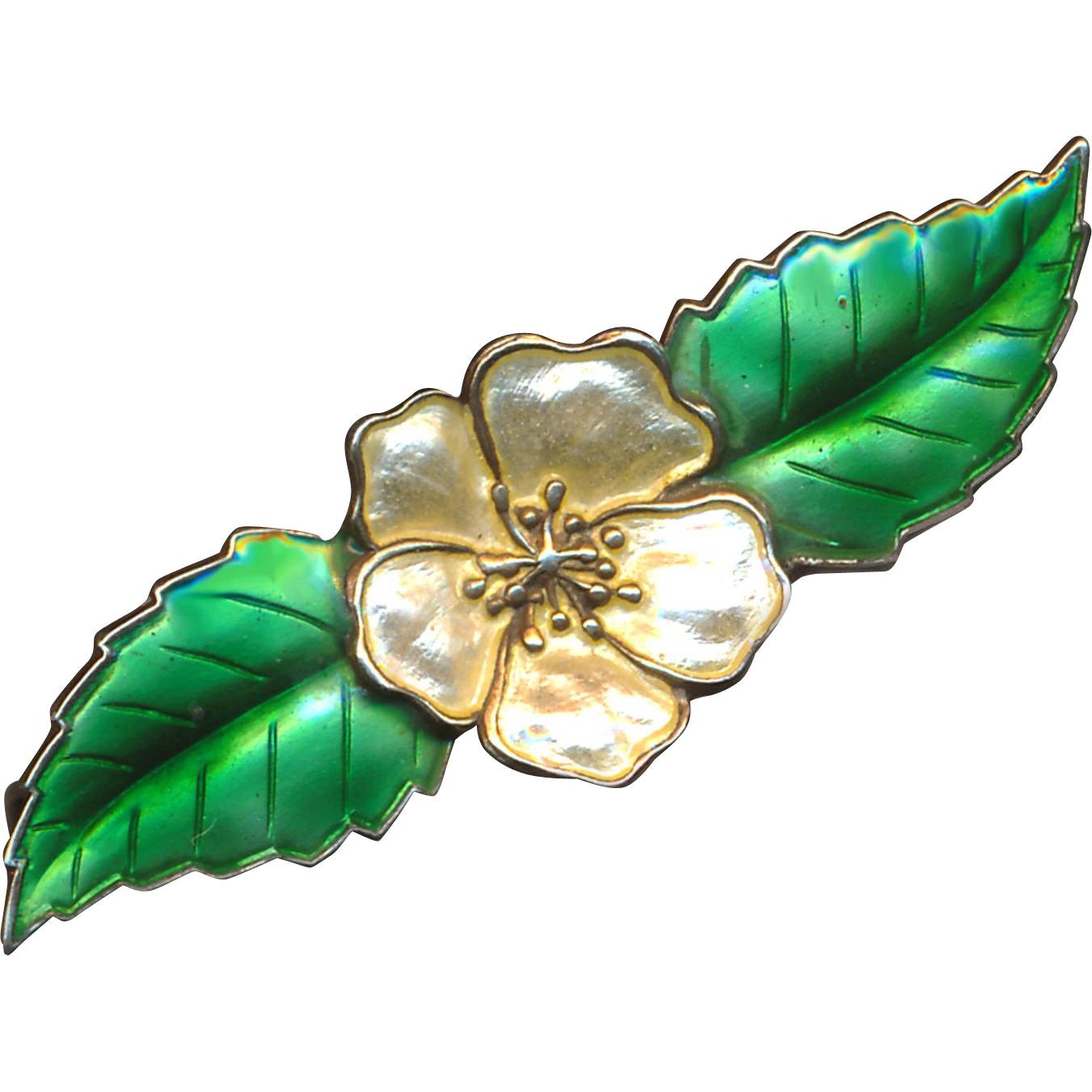 Brooch--Translucent Enamel on Sterling Silver Champagne Apple Blossom--Denmark