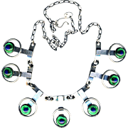 Necklace--Art Deco Style Hard White Metal Links and Fine Peacock Eye Glass Jewels--18 Inches