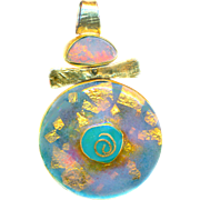 Pendant--Enamel, Opal, and Embedded Gold Foil in Sterling Silver & Vermeil by Susan Knopp