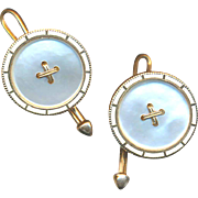 Buttons--Early 20th C. Pearl, Enamel and 14 Karat Gold Cuff Buttons--Pair