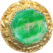 Button--Old Chinese Apple Green Jadeite in Silver Vermeil Butterflies and Dasies