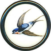Button--Mid-19th C. Painted Polychrome Porcelain Barn Swallow in Black Japanned Brass