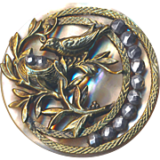 Button--RESERVE--Large Uncommon Bird and Nest in Brass on Pearl with Moon