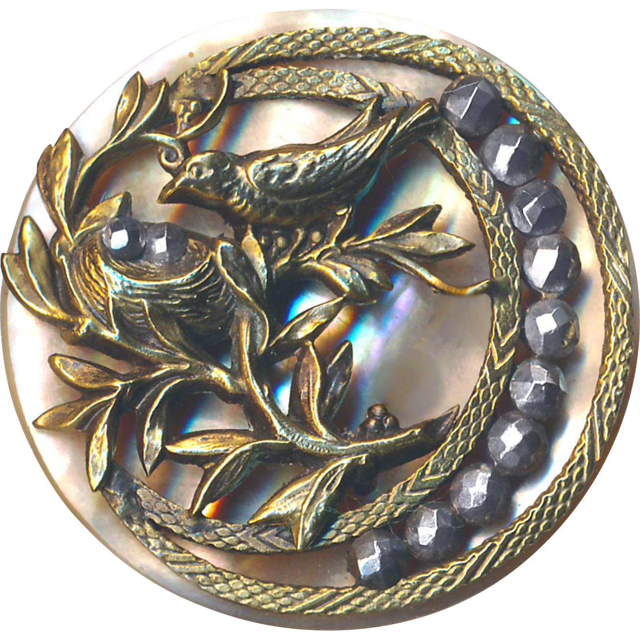 Button--Large Uncommon Bird and Nest in Brass on Pearl with Moon