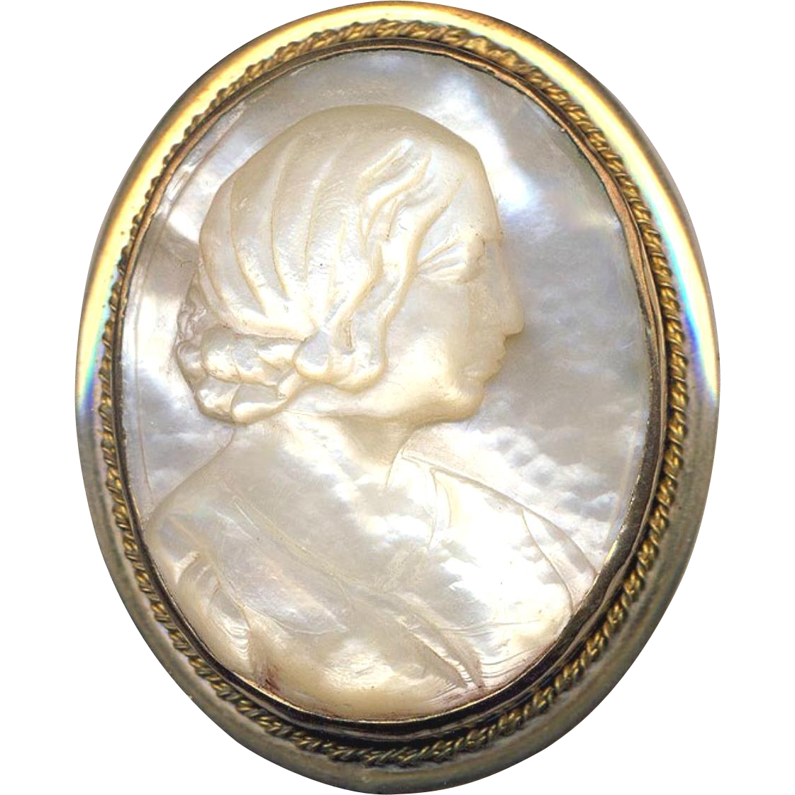 Brooch ~ Large Mid-1800s Cameo Mother-of-pearl Lady in Gold-plated Brass--Someone's Mother