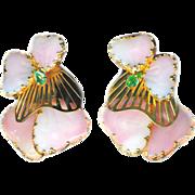 Earrings--Large Vintage Signed Hobe Art Glass Pink Majorka Mayorka Petals--Mint