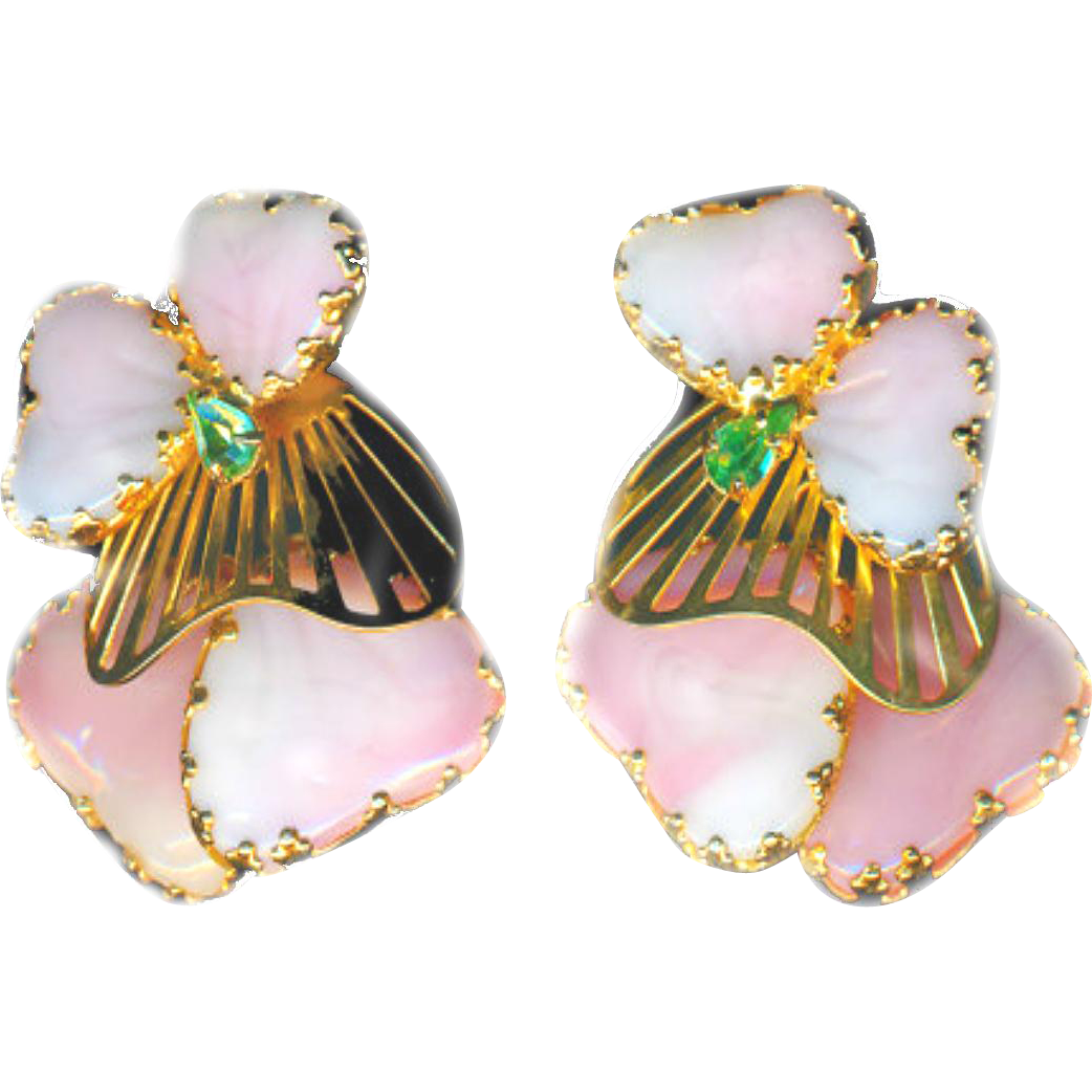 Earrings--Large Vintage Signed Hobe Art Glass Pink Majorka Mayorka Petals--Mint